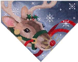 click here to view larger image of Reindeer Snowflakes Stocking Top (hand painted canvases)