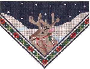 click here to view larger image of Reindeer/Plaid Stocking Top (hand painted canvases)