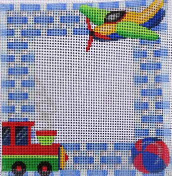 click here to view larger image of Train/Plane Baby Sampler (hand painted canvases)