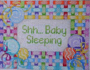 click here to view larger image of Lollipop Lattice Baby Sleeping Sign (hand painted canvases)