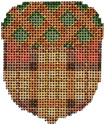 click here to view larger image of Camel/Green Woven Cap Acorn (hand painted canvases)