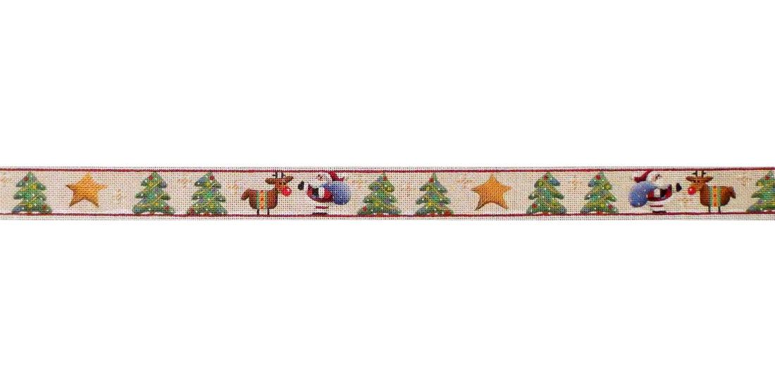 click here to view larger image of Rudolph And Santa Belt (hand painted canvases)