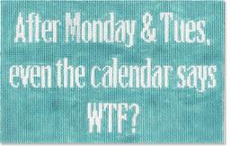 click here to view larger image of After Monday and Tues - Blue Background (hand painted canvases)