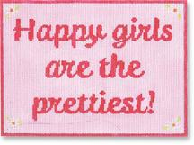 click here to view larger image of Happy Girls Are The Prettiest (hand painted canvases)