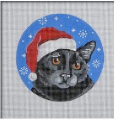 click here to view larger image of Black Cat Santa (hand painted canvases)