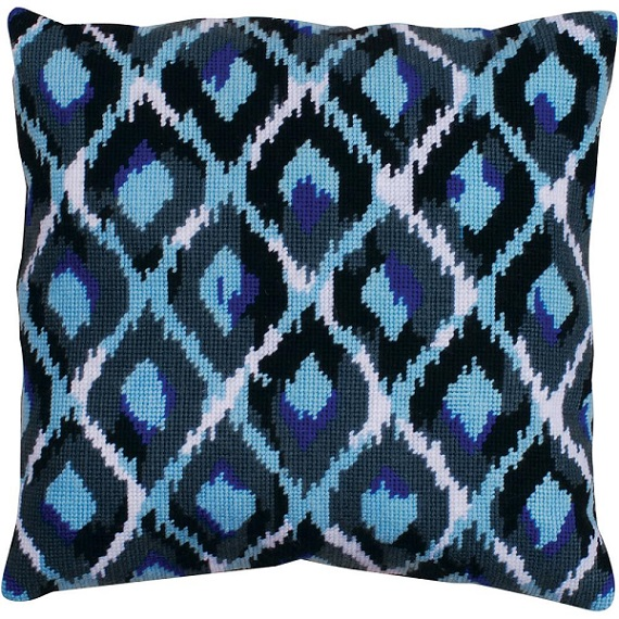 click here to view larger image of Blue Ikat (needlepoint kits)