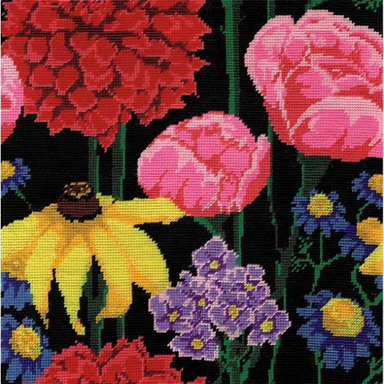 click here to view larger image of Midnight Floral (needlepoint kits)