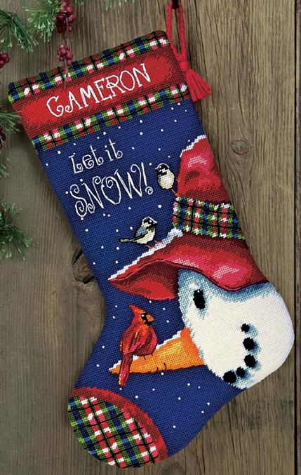 click here to view larger image of Snowman Perch Stocking (needlepoint kits)