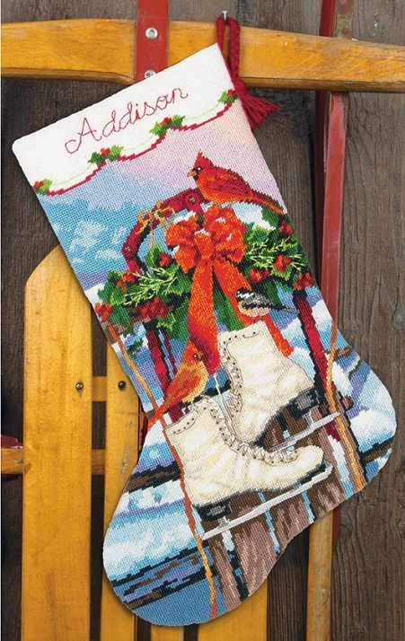 click here to view larger image of Ice Skates Stocking (needlepoint kits)