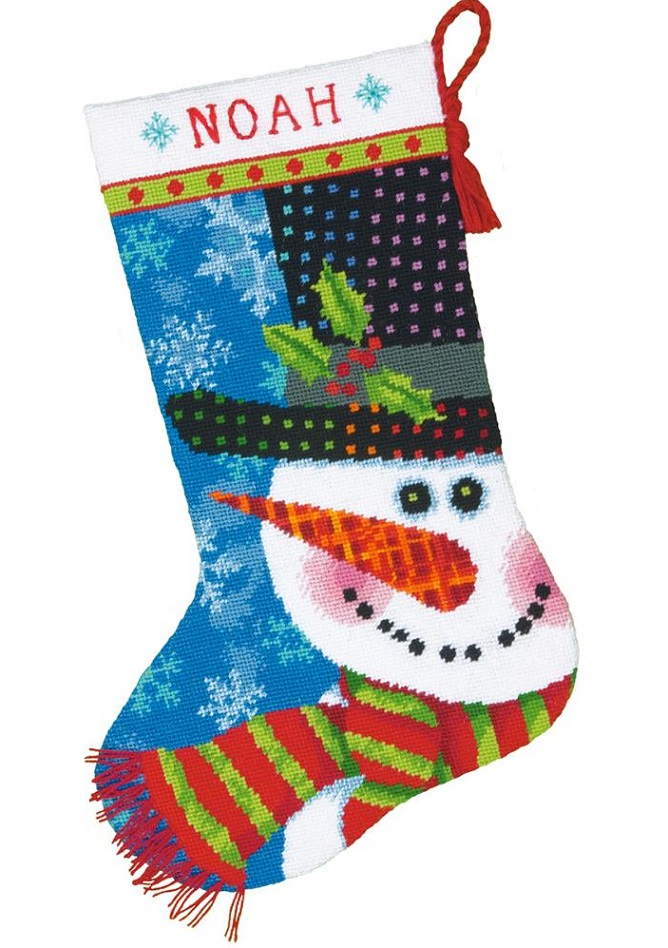 click here to view larger image of Patterned Snowman Stocking (needlepoint kits)
