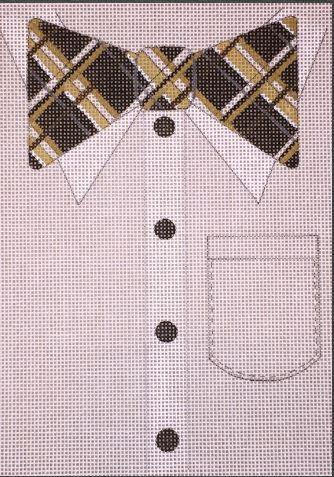 click here to view larger image of Posh Plaid Bowtie (hand painted canvases)