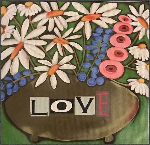 click here to view larger image of Love Floral (hand painted canvases)