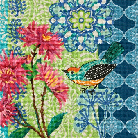 click here to view larger image of Blue Floral (needlepoint kits)