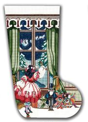 click here to view larger image of Girl At Window Stocking (hand painted canvases)