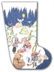 click here to view larger image of Forest Animals Stocking II (hand painted canvases)