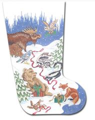click here to view larger image of Forest Animals Stocking III (hand painted canvases)