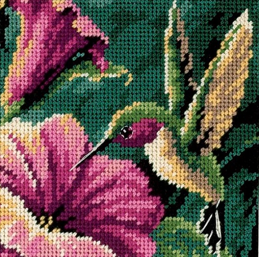 click here to view larger image of Hummingbird Drama (needlepoint kits)