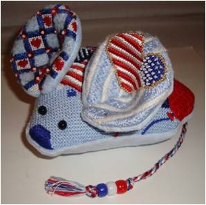 click here to view larger image of Fourth Of July Mouse (hand painted canvases)
