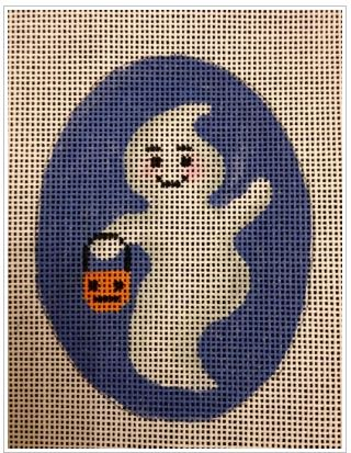 click here to view larger image of Little Ghost With Pumpkin (hand painted canvases)