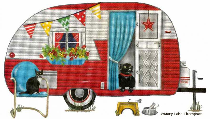 click here to view larger image of Red Trailer (hand painted canvases)