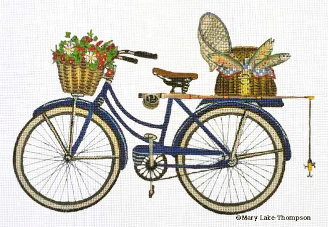 click here to view larger image of Fishing Bicycle (hand painted canvases)