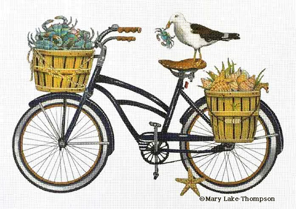 click here to view larger image of Seaside Bicycle (hand painted canvases)