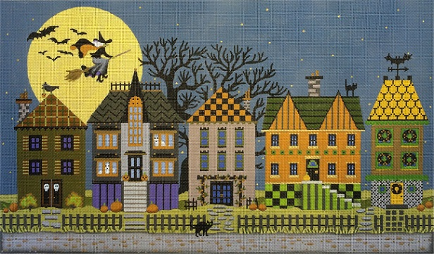 click here to view larger image of Halloween Houses (hand painted canvases)