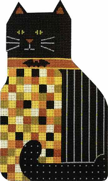 click here to view larger image of Checkered Boo Kitty (hand painted canvases)