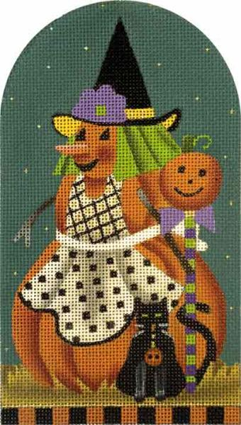 click here to view larger image of Black Cat Punkin Witch (hand painted canvases)