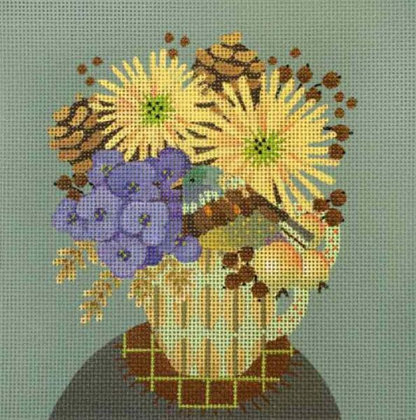 click here to view larger image of Pinecone Fall Cup (hand painted canvases)