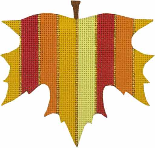 click here to view larger image of Wide Striped Leaf Ornament (hand painted canvases)