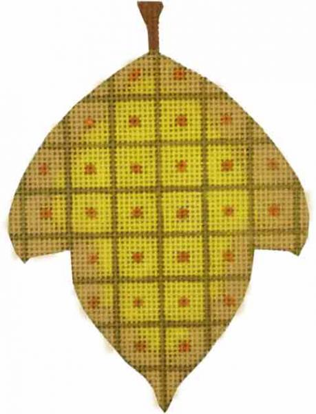 click here to view larger image of Windowpane Leaf Ornament (hand painted canvases)