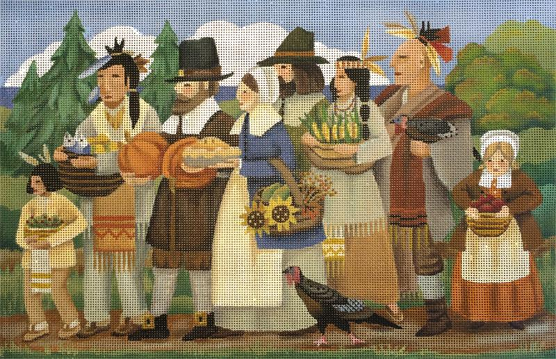 click here to view larger image of First Thanksgiving (hand painted canvases)