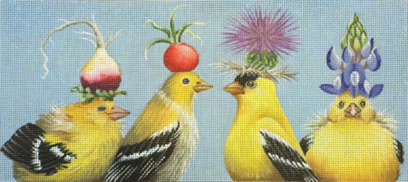 click here to view larger image of Yellow Birds (hand painted canvases)