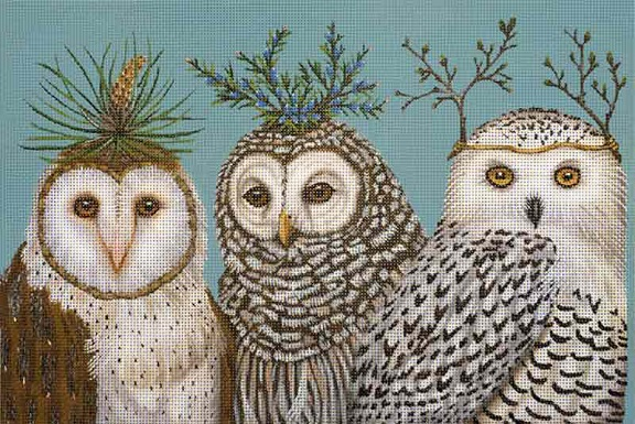 click here to view larger image of Winter Owls (hand painted canvases)