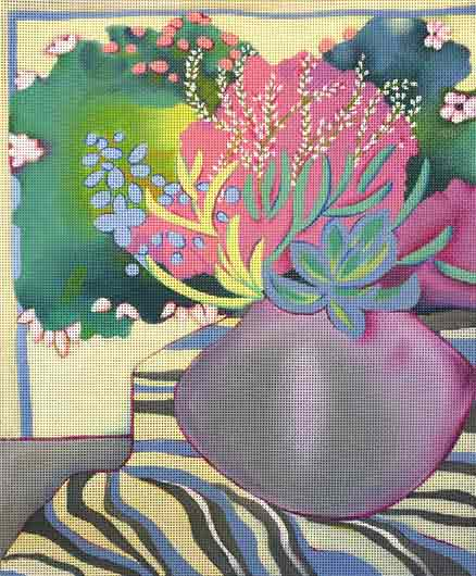 click here to view larger image of Succulent Bowl (hand painted canvases)