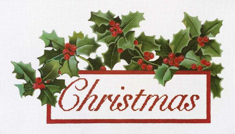 click here to view larger image of Christmas Holly (hand painted canvases)