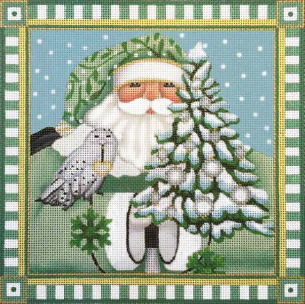 click here to view larger image of Wintergreen Santa Pillow (hand painted canvases)