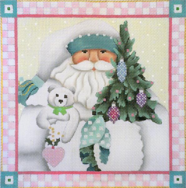 click here to view larger image of Winter White Santa Pillow (hand painted canvases)