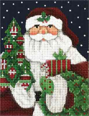 click here to view larger image of Classic Santa Ornament (hand painted canvases)