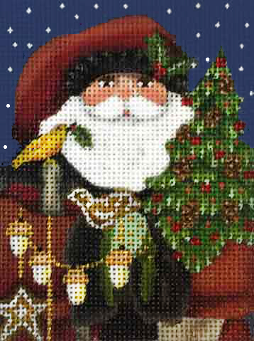click here to view larger image of Wildwood Santa Ornament (hand painted canvases)