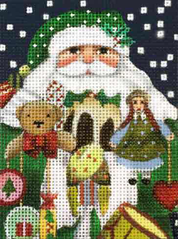 click here to view larger image of Toy Santa Ornament (hand painted canvases)