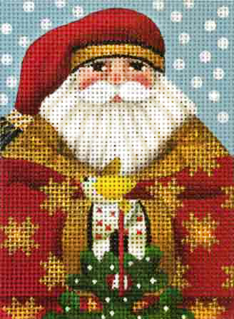 click here to view larger image of Golden Star Santa Ornament (hand painted canvases)