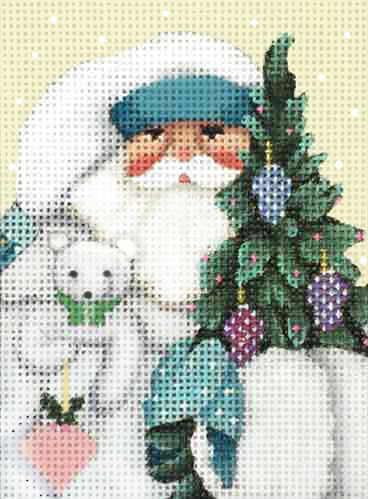 click here to view larger image of Winter White Santa Ornament (hand painted canvases)