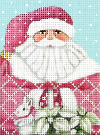click here to view larger image of Pink Santa Ornament (hand painted canvases)
