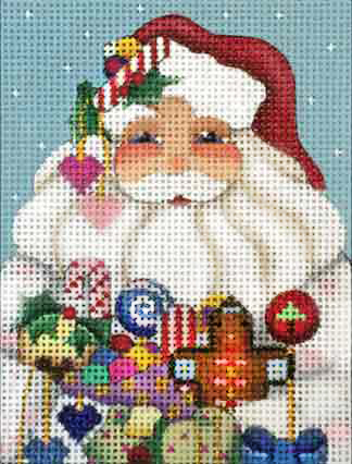 click here to view larger image of Candy Santa Ornament (hand painted canvases)