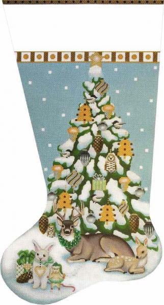 click here to view larger image of Wintergreen Tree Stocking (hand painted canvases)