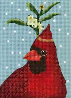 click here to view larger image of Cardinal Berries Ornament (hand painted canvases)