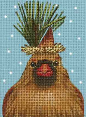 click here to view larger image of Cardinal Pine Ornament (hand painted canvases)