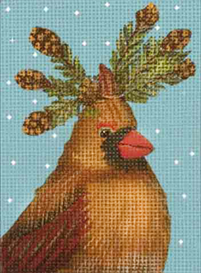 click here to view larger image of Cardinal Evergreen Ornament (hand painted canvases)